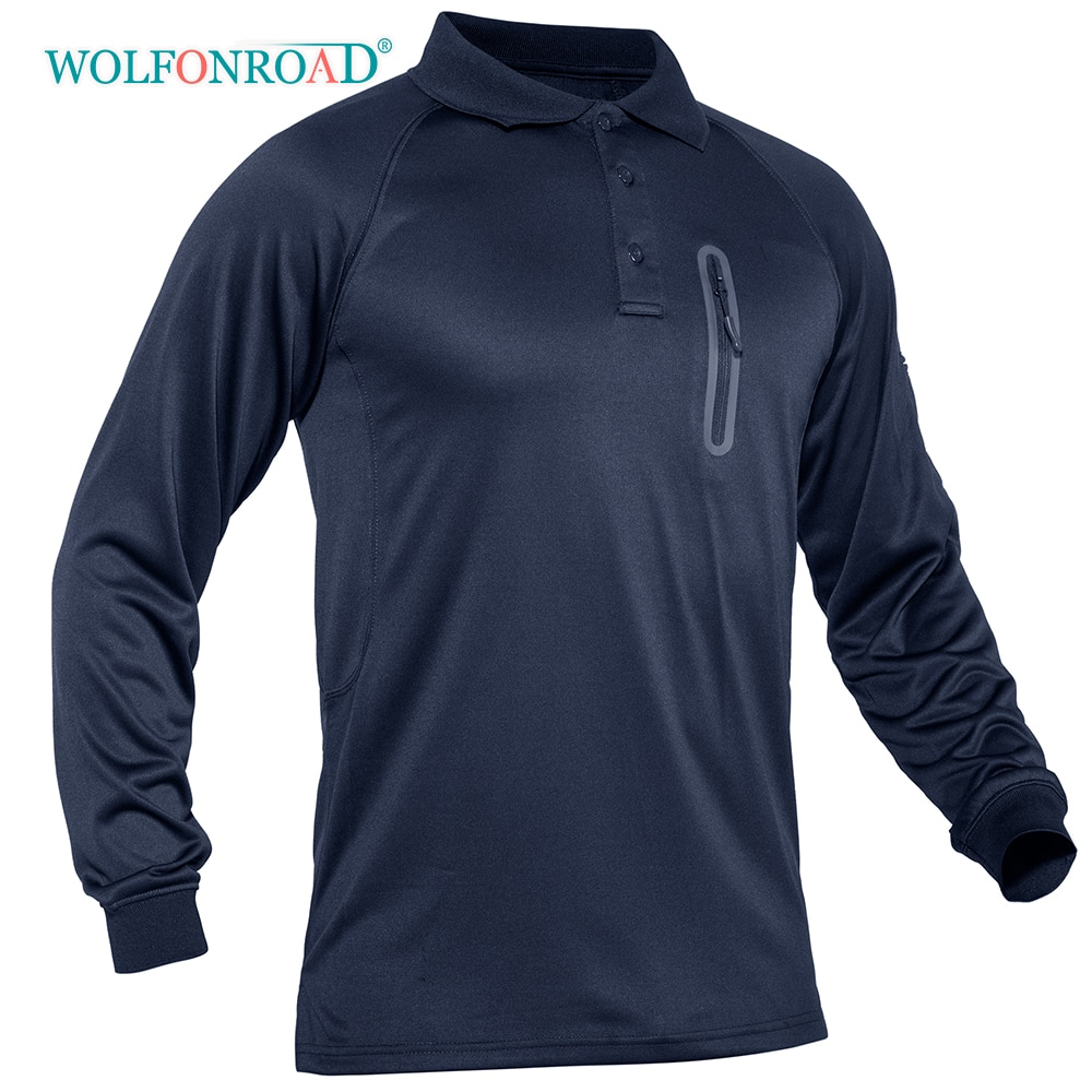 WOLFONROAD, camiseta táctica transpirable para hombres, Camiseta deportiva de Golf, tenis, camiseta de Camping, senderismo, camisa de malla de secado rápido, ropa deportiva