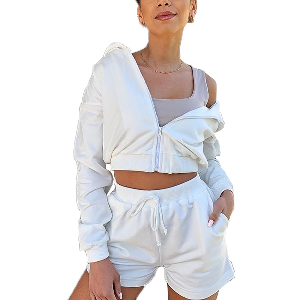 2pcs Set Women Long Sleve Zipper Hooded Cardigan Coat Top+Shorts Hoodies Two Pieces Sets Women Clothing Suits Female
