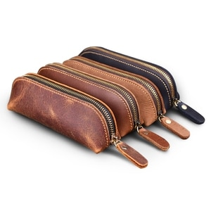 Handmade Genuine Leather Pencil Bag Vintage Cowhide Zipper Pen Case School Bag 831D