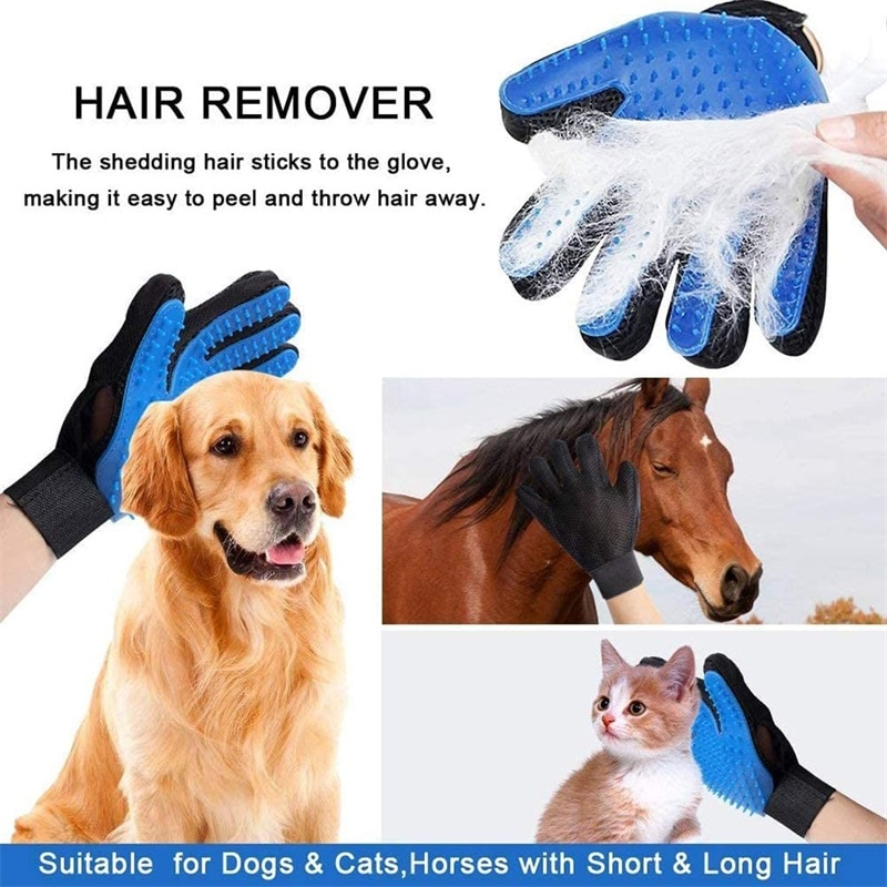 Cat Grooming Glove Pet Dog Cleaning Brush Hair Deshedding Comb Brush Bathing Hair Removal Cleaning M