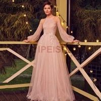 a line evening dresses pink tulle applique prom dress long sleeve illusion backless floor length formal party dresses