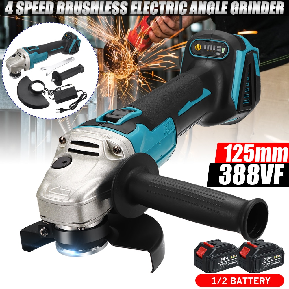 388VF 125 مللي متر فرش طاحونة بزاوية كهربائية 4 سرعة تلميع آلة قطع لتقوم بها بنفسك أداة السلطة ث/15000 مللي أمبير بطارية ليثيوم أيون