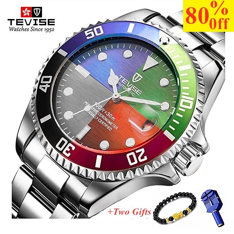 Brand TEVISE Watch Men Luxury Men's Quartz Date Clock Man Casual Stainless Steel Wrist Watch Waterpr
