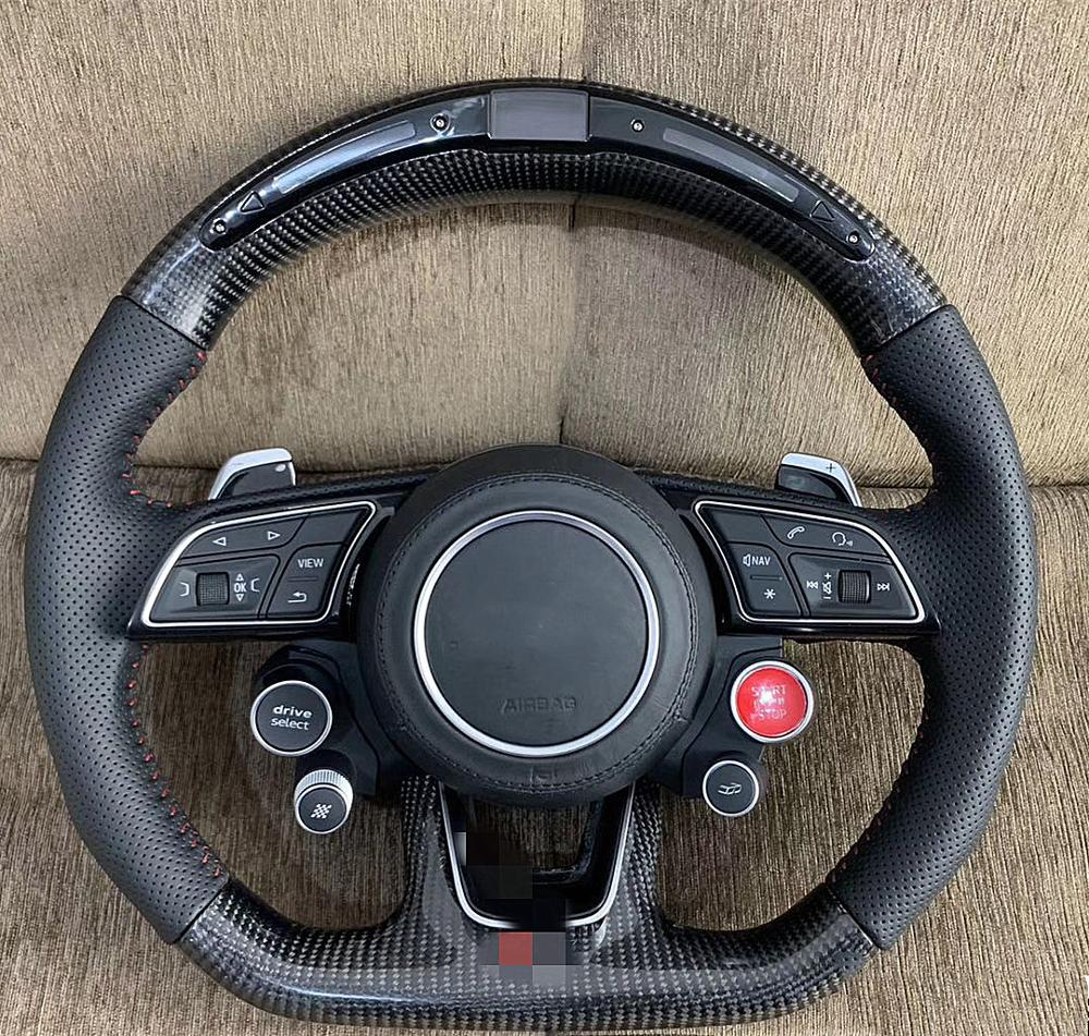 Parte inferior lisa traseira de fibra carbono volante para audi a3 a4l a5 a6l a7 q5 q7 r8 rs mutifuction volante para audi toda a estrada
