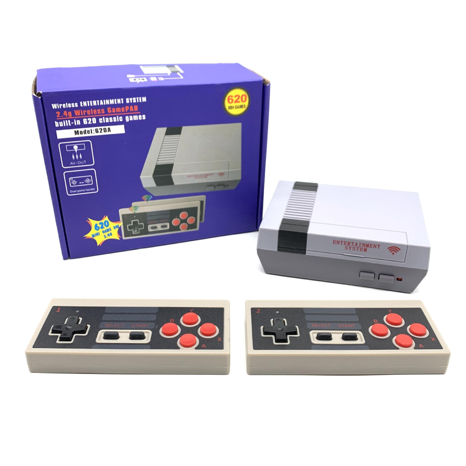ألعاب الفيديو المصغرة وحدة التحكم الرجعية 8 بت لاعب وحدة التحكم 2.4G المدمج في 620 الألعاب الكلاسيكية دعم التلفزيون الناتج الأطفال هدية لاسلكية