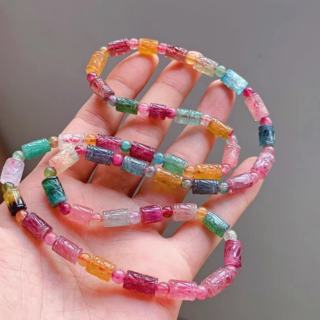 Genuine Natural Colorful Tourmaline Crystal Bracelet 6mm Clear Barrel Carved Beads Women Crystal Jewelry AAAAAAA