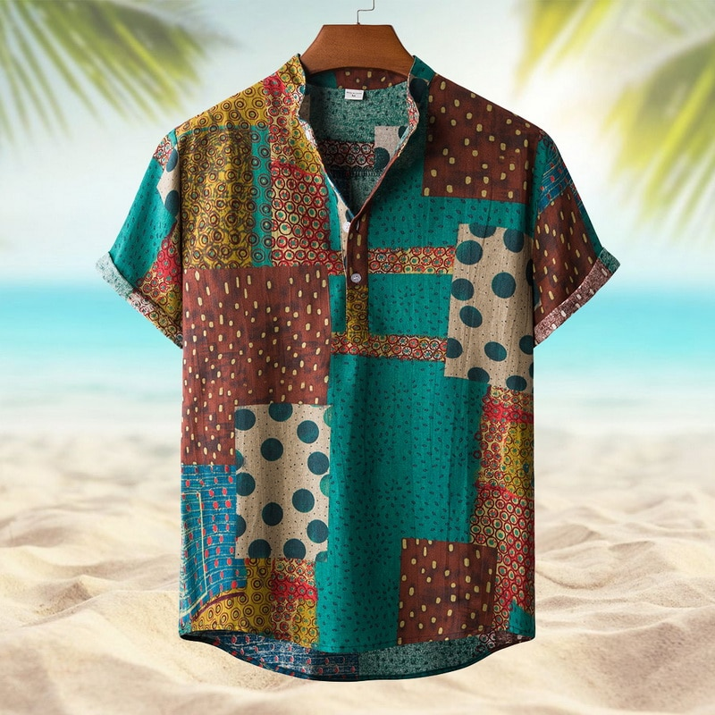 SHUJIN Men Linen Cotton Short Sleeve Shirt Summer Floral Loose Baggy Casual Shirts Tops Holiday Beach Men's Hawaii Shirts