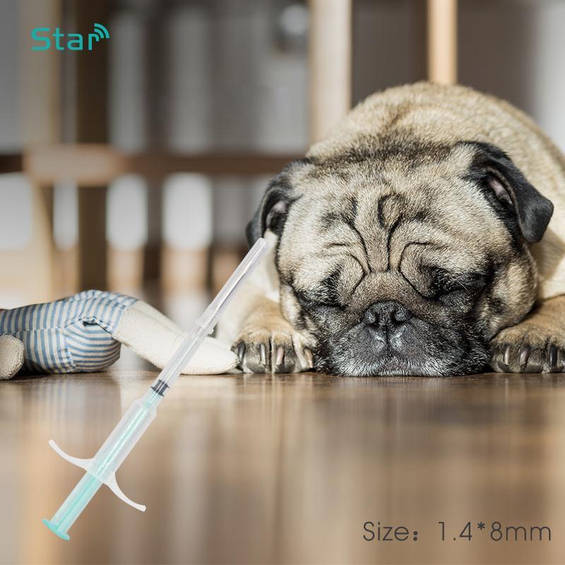 (10 unids/lote) 134,2 khz 1,4*8mm Animal Pet Chip jeringa FDX-B ISO11784/5 microchips RFID inyector para perro gato ratón mascota
