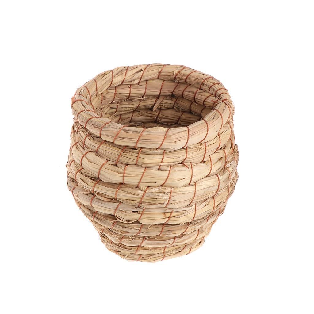 Jaula pequeña para el hogar hecha a mano con nido de pájaros y pajillas naturales para loros