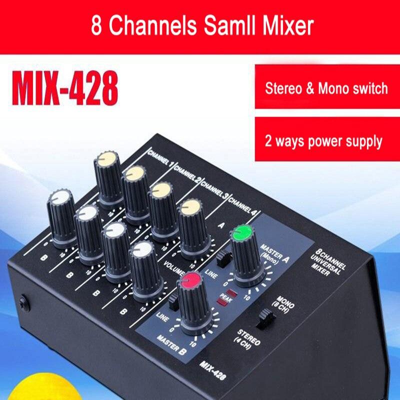 المحمولة الصوت خلط وحدة التحكم مع بلوتوث سجل ستيريو 4 و مونو 8 قنوات جهاز مزج الصوت وحدة التحكم يمكن أن تكون مدعوم من بطارية 9 فولت