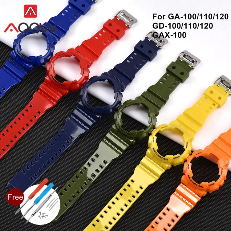 Miękki futerał ochronny TPU do Casio G-SHOCK GA-100 GD-110 GAX-100 błyszczący Sport wodoodporna bransoletka zegarek z branzoletką akcesoria