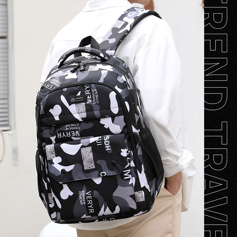 Фото - Fashion Camouflage Business Leisure Bag Junior High School Students Trend Shoulder Bag Back To School Backpack 2021 New 2021 four piece set primary school students grade 3 6 junior high school students color contrast backpack hand bag fashion