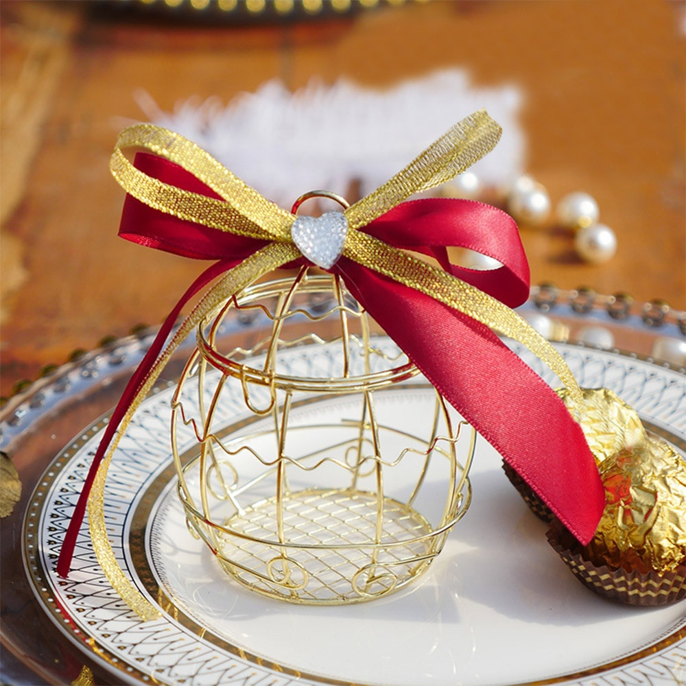 Caja de regalo de boda con jaula hueca para pájaros, contenedor de hojalata, cajas de dulces de Chocolate para cinta para Baby Shower, suministros para fiestas de bodas