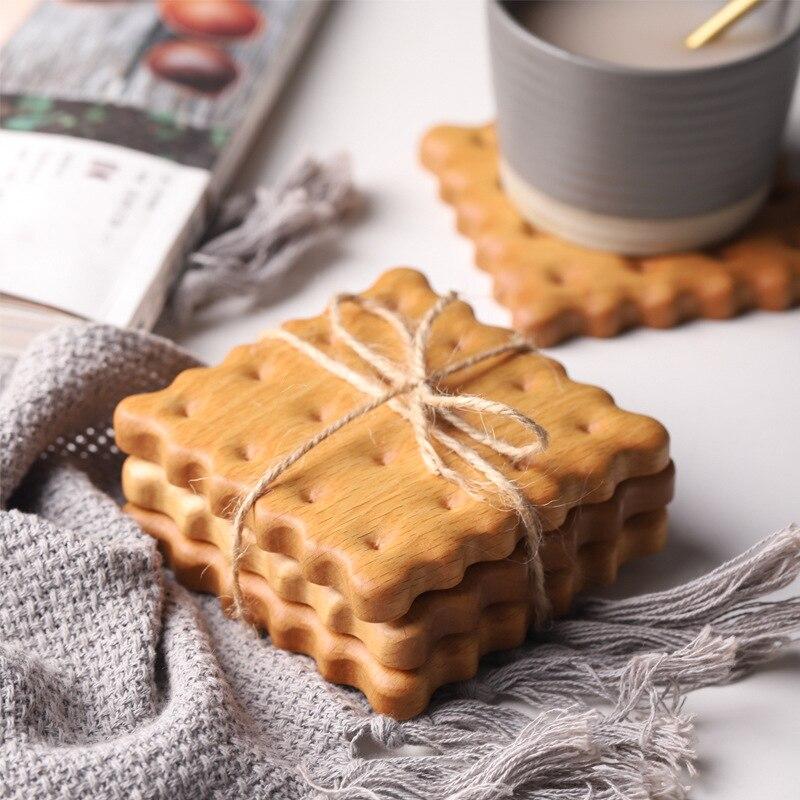Juego de posavasos de madera Natural con forma de galleta, tazas de té y café, soportes para bebidas, accesorios de fotografía, alfombrillas artesanales, manteles individuales para mesa de comedor