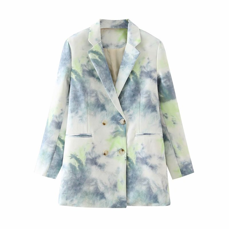 Spring Autumn Long Sleeve Women Printed Fashion Double Breasted Buttons Suit Jacket Ladies Coat Outwear Female