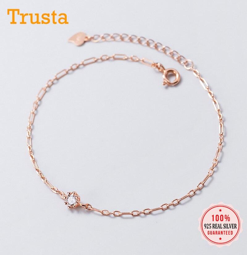 Trustdavis, tobillera de Plata de Ley 925 auténtica, abalorio minimalista, deslumbrante pulsera CZ para mujer, joyería para fiesta y boda, regalo DA1251
