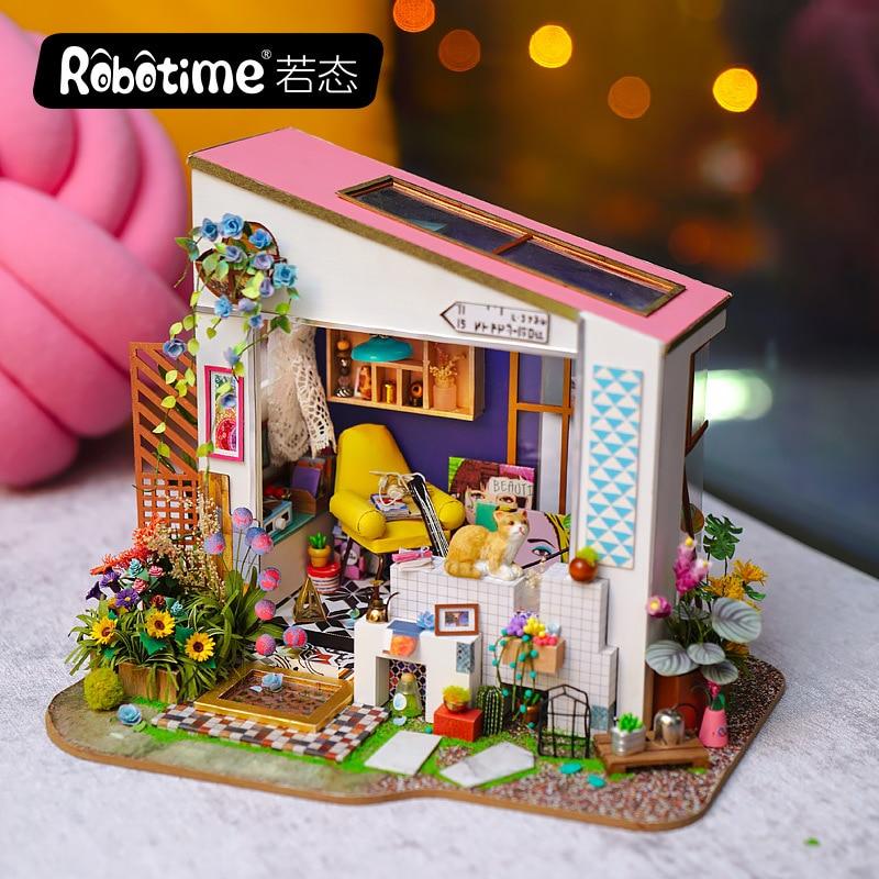 Robotime DIY Hut lirios Porch hecho a mano Villa de madera ensamblada Casa de Arte modelo creativo regalo de las niñas