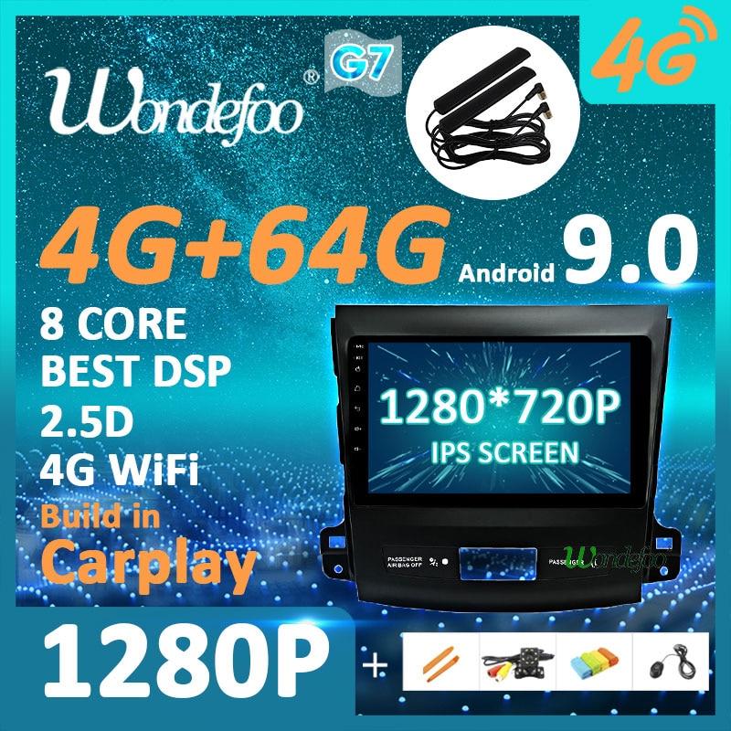 Android 9,0*1280*720 P 4G 64G Carplay de Radio para Mitsubishi Outlander xl 2 2005-2011 Peugeot 4007 Peugeot Citroen C-Cruz GPS NO DVD PC