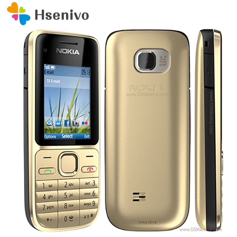 Nokia C2-01 refurbished-Original C2-01 Gold Unlocked Mobile Phone GSM Refurbished Cellphones& Russian Hebrew Arabic keyboard