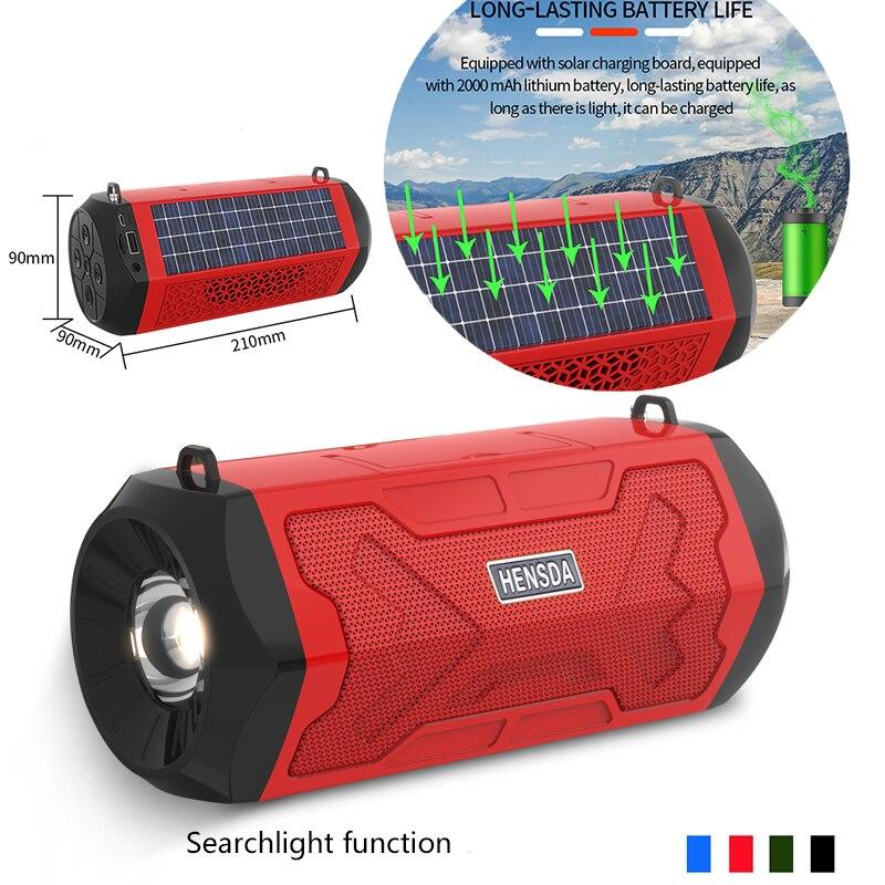 Bluetooth ao ar livre alto-falante portátil solar de carregamento searchlight bluetooth rádio no computador do carro barra de som bluetooth alto-falante