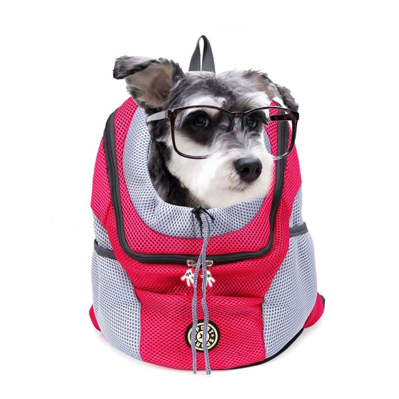 Out Double Shoulder Portable Travel Backpack Outdoor Pet Dog Carrier Bag Pet Dog Front Bag Mesh Backpack Head Pet Supplies