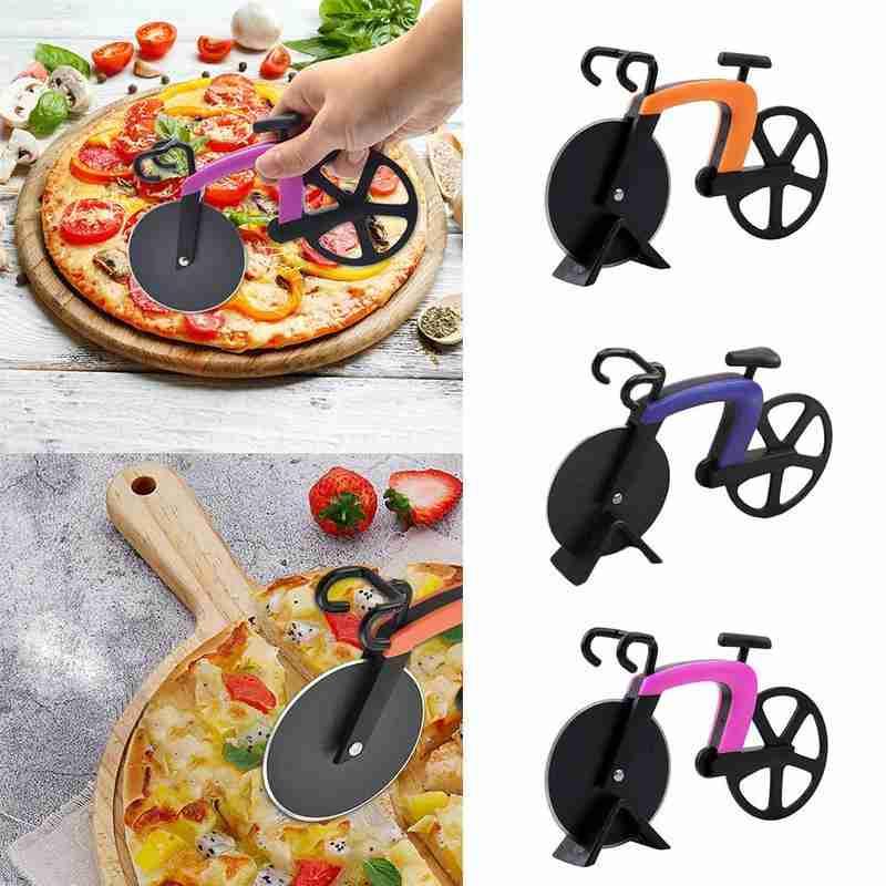 Cuchillo de acero inoxidable para Pizza de dos ruedas con forma de bicicleta, cuchillo para cortar Pizza, cuchillo para cortar pizzas, cuchillos para rollos de galletas