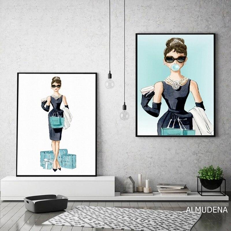 Cartoon Bubble Audrey Hepburn Poster Diamond Blue Lady Winkelen Canvas Prints Muur Art Schilderijen Foto Woonkamer Home Decor