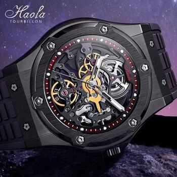 HAOFA Skeleton Watches Mens 2021 Mechanical Automatic Wrist Watch For Men Sapphire Hollow Power Reserve 80h Clock zegarek meski