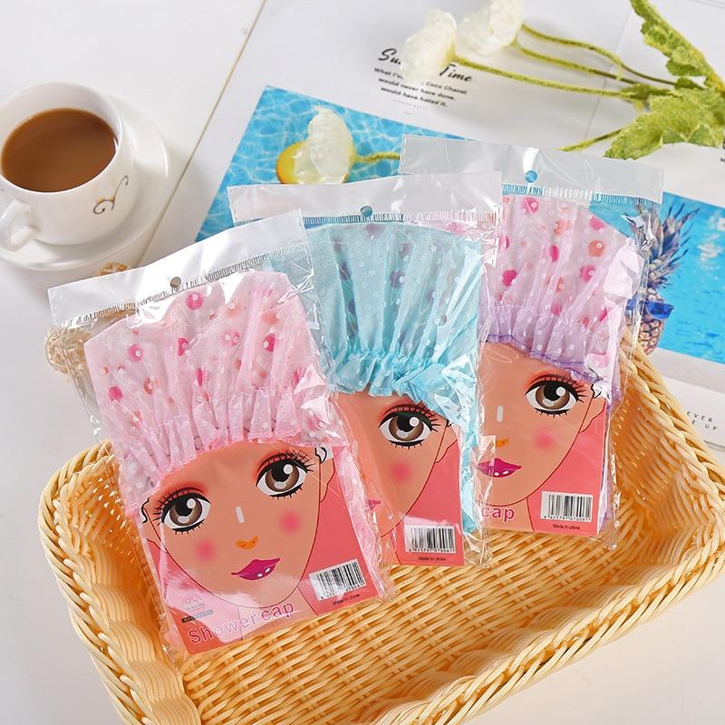 Shower Cap Elastic Bath Hat Bathing Shower Cap For Women Hair Salon Dot Waterproof Bathroom Products Bathroom Accessories