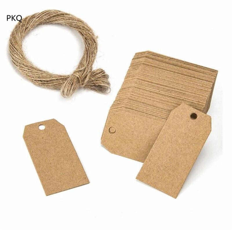 100pcs/pack Brown Kraft Price Tag Blank Paper Label DIY Christmas Tags with hemp rope Cardboard Gift Hang Tag 2.5x5cm