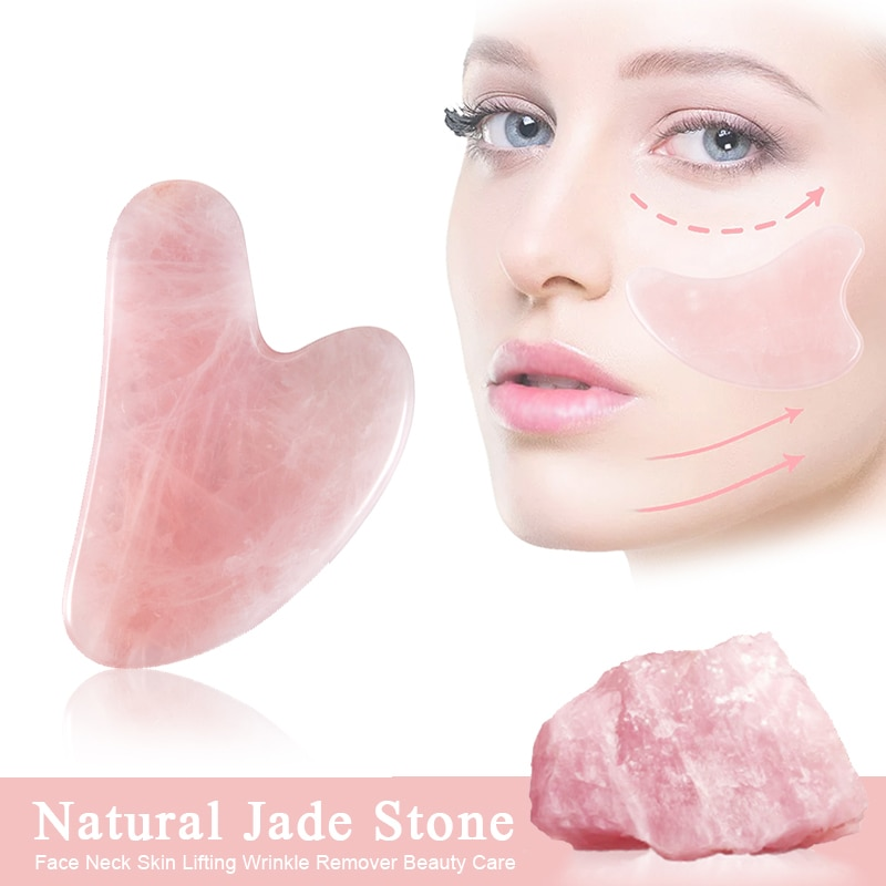 Natural Jade Gua Sha Scraper Board Massage Rose Quartz Jade Guasha Stone For Face Neck Skin Lifting