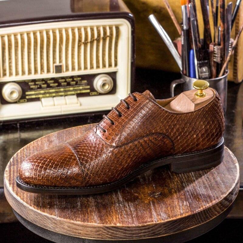Oxford Style Wedding Bridegroom Dress Formal Office Best Men Snake Shoes Genuine Original Business Designer Shoes