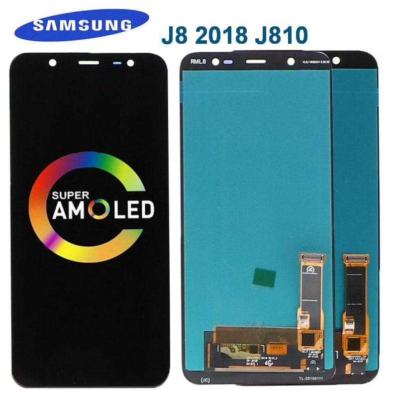 الأصلي 6.0 ''AMOLED LCD لسامسونج غالاكسي J8 2018 شاشة تعمل باللمس ل غالاكسي J810 J810F SM-J810FN Lcd عرض محول الأرقام