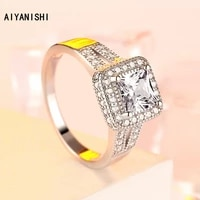 aiyanishi vintage 925 sterling silver wedding rings halo princess cut finger rings for women silver engagement jewelry gifts