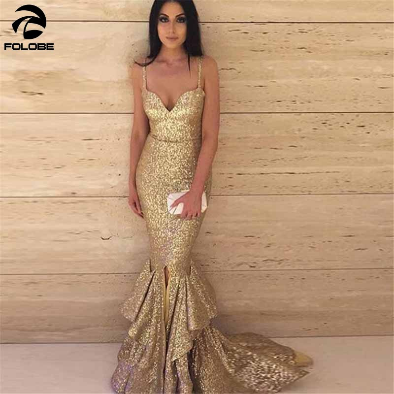 Gold Sweetheart Sequined Mermaid Prom Dresses 2020 Spaghetti Straps Draped Ruffles Formal Evening Dr