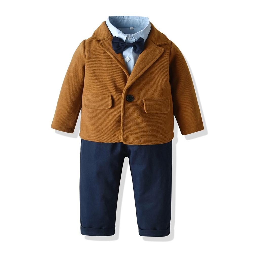 أعلى و أعلى الخريف الشتاء الصبي مريحة مجموعة ملابس الصوف معطف 3 قطعة الزي الدافئة سترة + قميص + السراويل الأطفال الأزياء زي