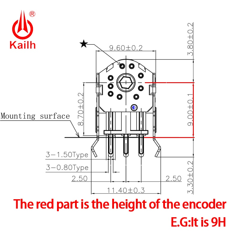 Купить с кэшбэком Kailh 7/8/9/10/11/12mm Rotary Mouse Scroll Wheel Encoder 1.74 mm hole 20-40g force for PC Mouse alps encoder 800,000 life cycles