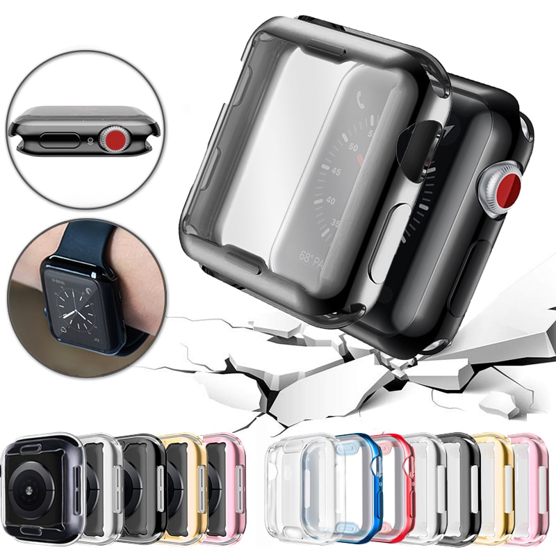 360 slim watch cover for apple watch case 5 4 3 2 1 42mm 38mm soft clear tpu screen protector for iwatch 4 3 44mm 40mm Slim Watch 360 Cover for Apple Watch Case 5 4 3 2 1 42mm 38mm Soft Clear TPU Screen Protector for iWatch 5 44mm 40mm accessories