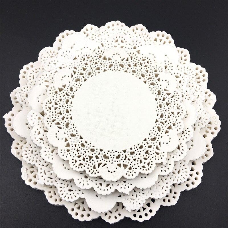 Novedad de 200 Uds. Tapetes de papel de encaje redondo blanco/Doyleys, posavasos Vintage/manteles individuales artesanales de Decoración de mesa de boda