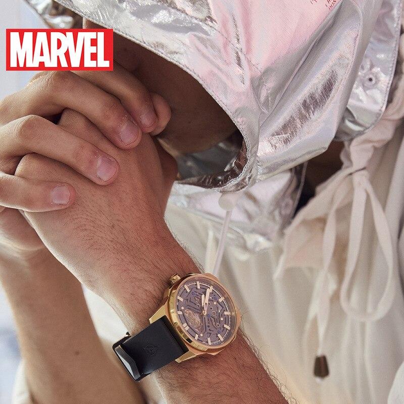 Reloj mecánico para hombre de Marvel, reloj para hombre, Pantera Negra, tendencia callejera, hueco, reloj automático para hombre, resistente al agua, cuero