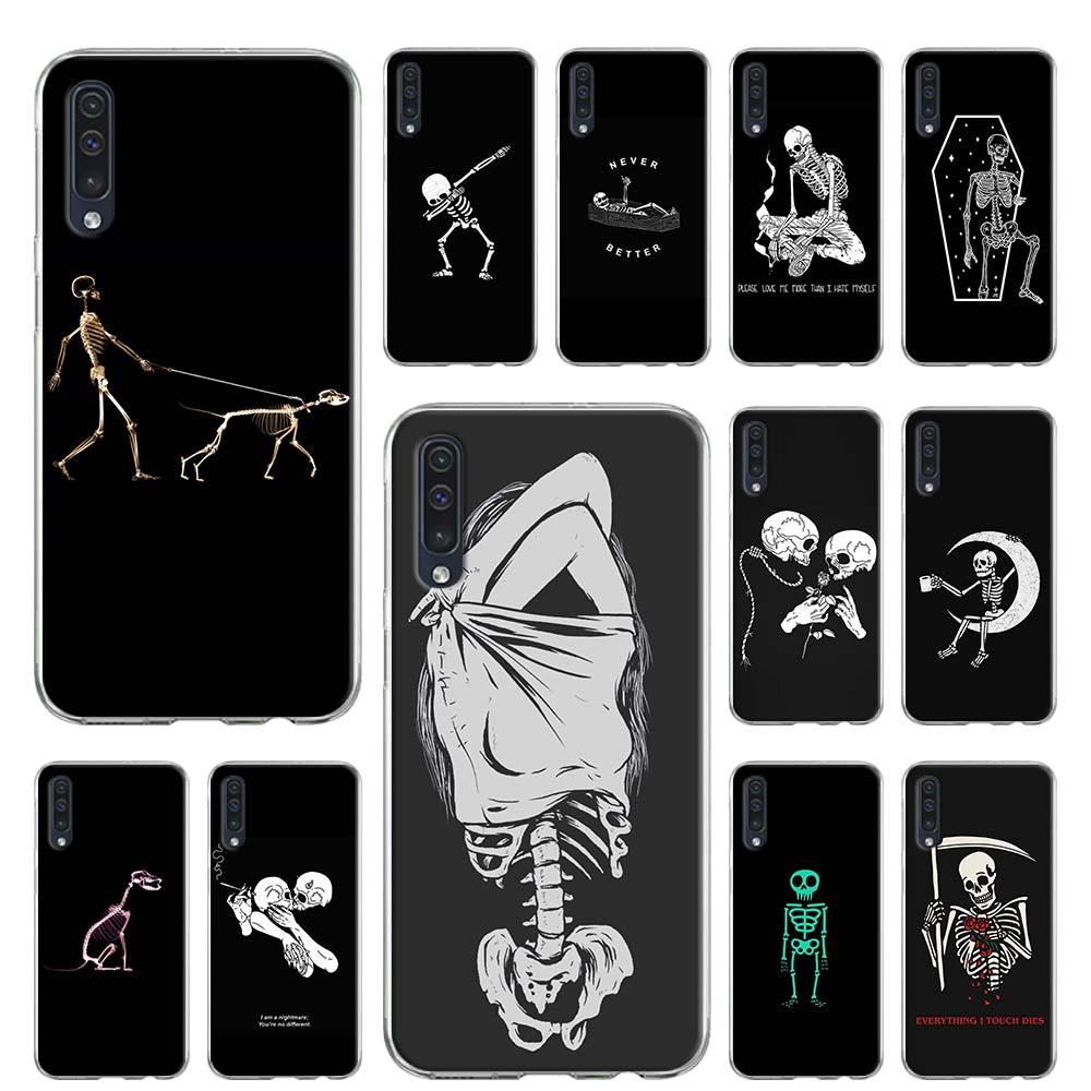 Soft Case Para Samsung Galaxy A51 A71 A50 A70 A10 A20 A30 A40 A11 A21 A31 A41 5G Coque Capa Linda Esqueleto Crânio