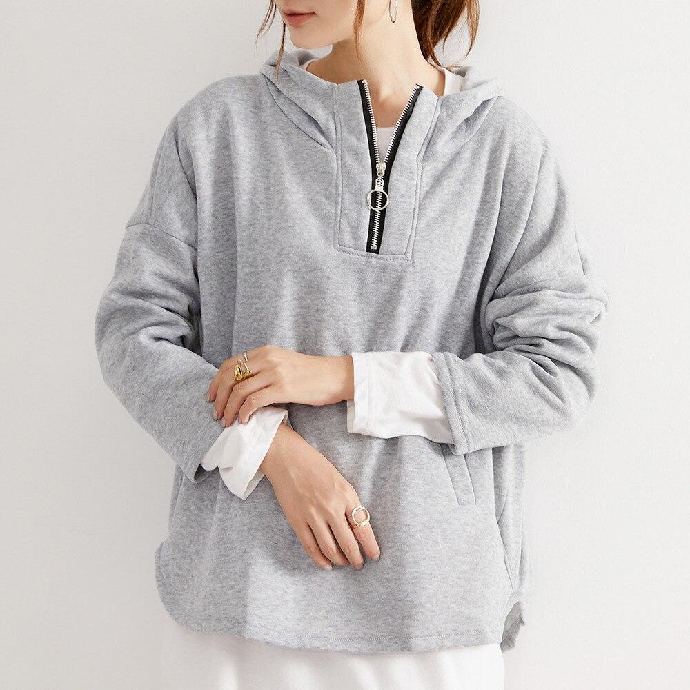Hoodie Women Autumn Zipper Solid Pocket Hooded Pullovers Japanese Korean Style Casual Ladies Tops Fe
