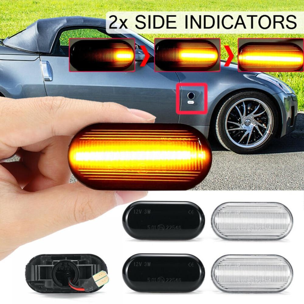 2 unidades de luces indicadoras de indicador lateral dinámico para coche 12V NIS-26160AX001 para 350Z Z33 Navara D40 cubo Pathfinder R51 Qashqai J10