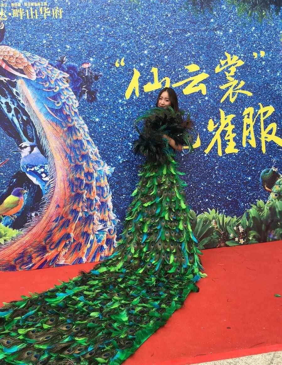 Vestido de pavo real chino traje de Baile Folclórico largo azul verde pasarela falda escenario bunisess disfraz para eventos