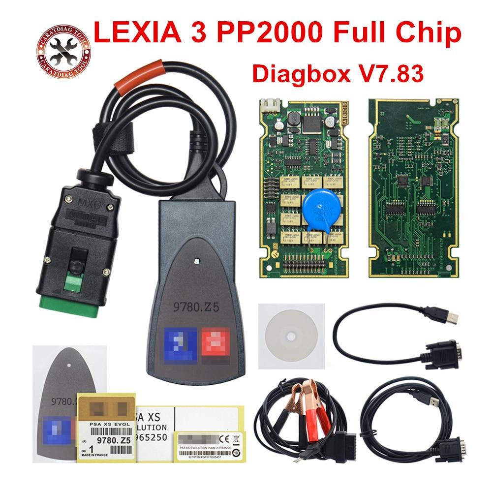 Chip completo Lexia 3 PP2000 921815C Diagbox V7.83 Lexia3 OBD OBD2 escáner herramienta de diagnóstico de coche para PSA para Citroen/peugeo-t