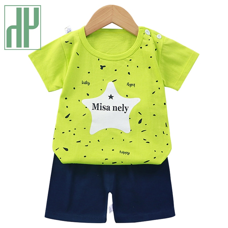 HH 2021 Summer Baby Clothing Sets Boys Girls Cotton Boy Clothes Set 2Pcs Cartoon T-shirt Short Pants Comfortable Baby Child Top