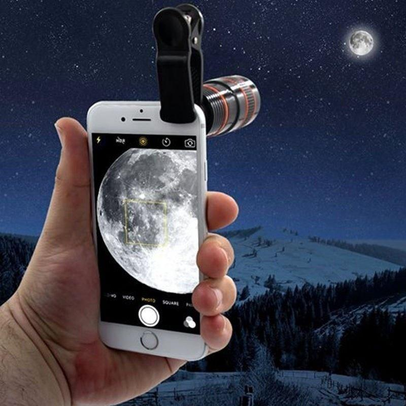 Universal 8x 12x teléfono móvil para cámara Smartphone lente HD telescopio lente óptica Zoom Clip lente