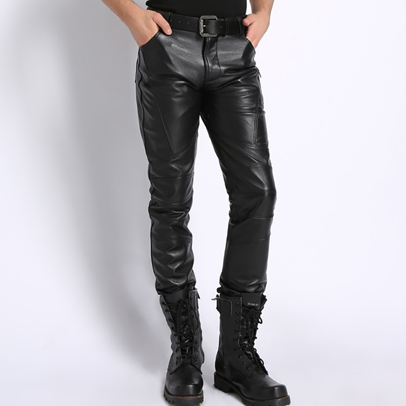 2021 Men Genuine Leather Pencil Pants Style Fashionable Soft Leather Trousers Motorcycle Pants for Men Plus Size Pants