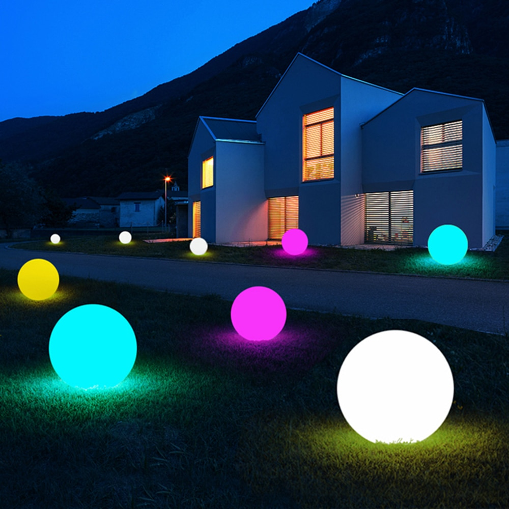 thrisdar 16 color ip68 globe ball garden landscape lawn pathway deck light remote control led swimming pool floating ball light 1PC Lawn Lamp Landscape Floor Light Spa Pool Bulb Remote Control Outdoor 16 Colors LED Luminous Ball Lamp Floating Up Ball Lamp