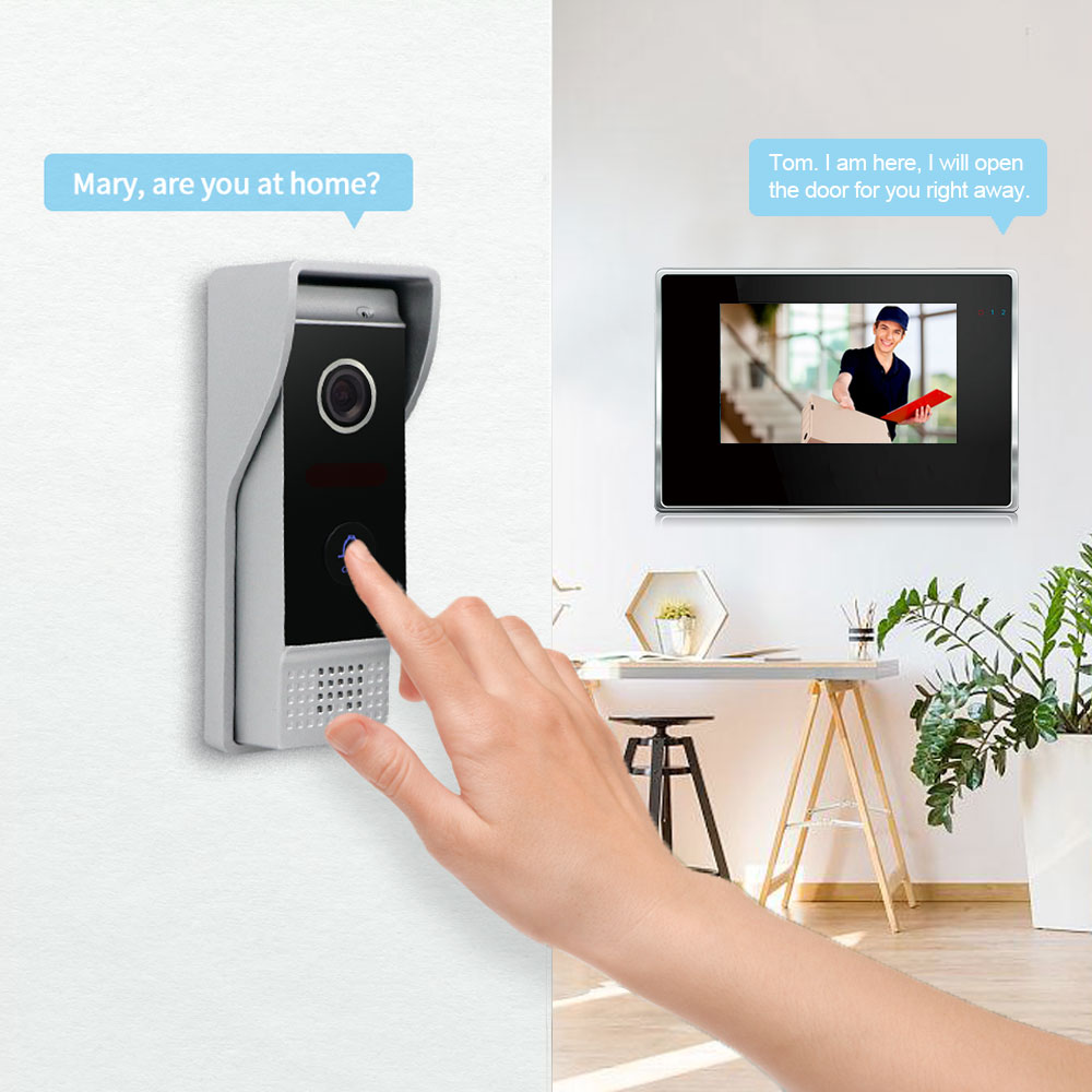 Motion Detection Wireless WiFi 7inch Smart Video Intercom System Full Touch Screen with Wired Door APP Phone Talking Unlock enlarge